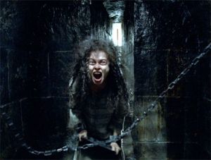 Bellatrix screaming in her cell at Azkaban
